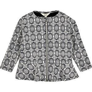 Mini girls navy geometric print jacket