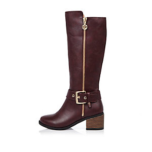 Girls dark red knee high boots