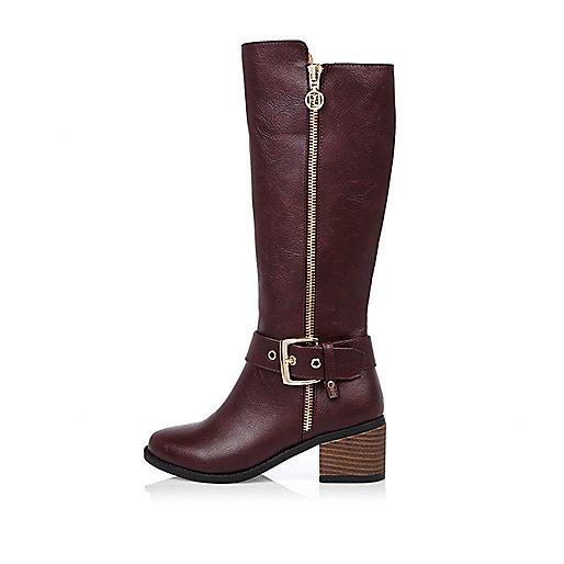 Girls dark red knee high boots