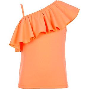Girls coral one shoulder top