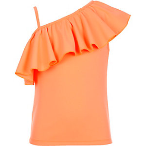 Girls coral one shoulder top