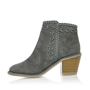 Girls grey weave western cowboy boots
