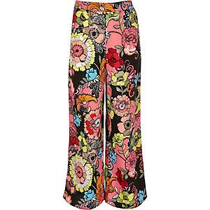 Girls pink print palazzo pants