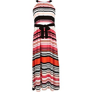 Girls pink stripe maxi dress