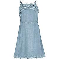 Girls light blue lace trim dress
