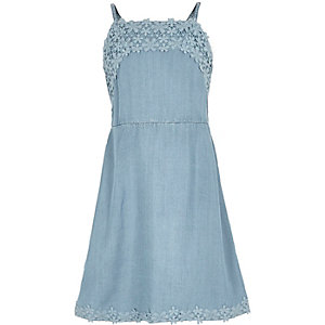 Girls light blue lace trim dress