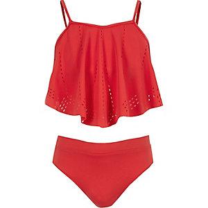 Girls red laser cut bikini