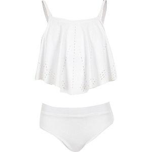 Girls white laser cut bikini