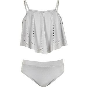 Girls silver grey laser cut bikini