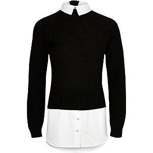 Girls black layered jumper