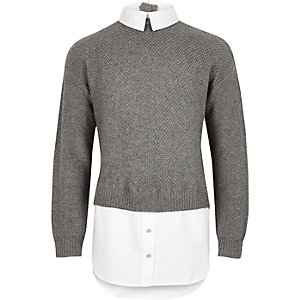 Girls grey layered sweater