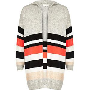 Girls grey stripe oversized cardigan