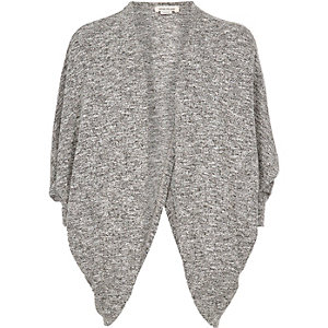Girls grey marl draped cardigan