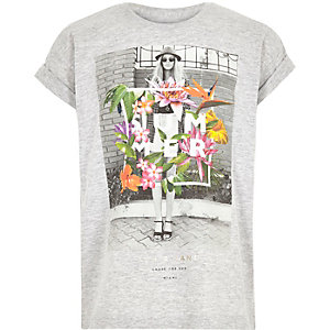 Girls grey floral print t-shirt