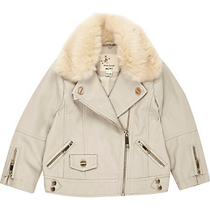 Mini girls cream faux fur lined jacket