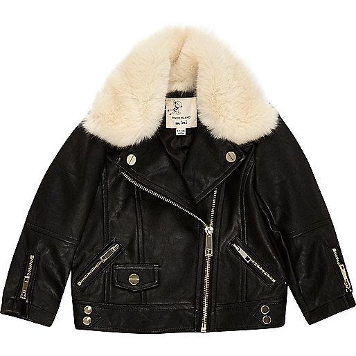 Mini girls black faux fur lined jacket