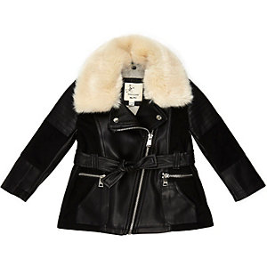 Mini girls black longline panel jacket