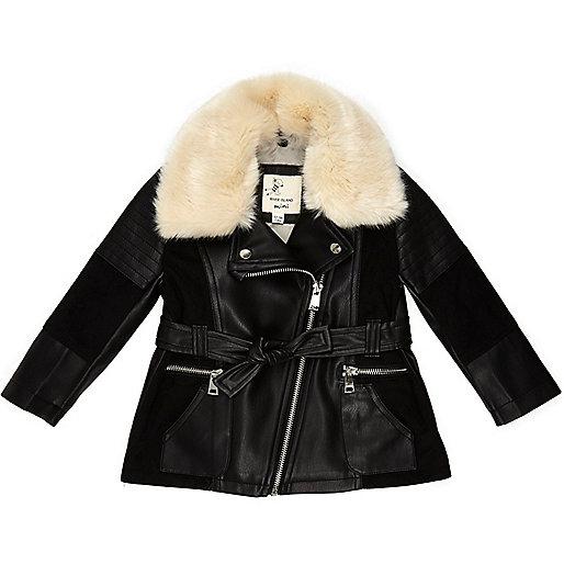 Mini girls black longline panel jacket