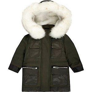 Mini girls khaki faux fur parka