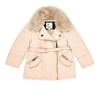 Mini girls cream faux fur padded jacket