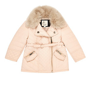 Mini girls cream faux fur quilted jacket