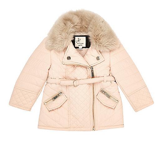 Mini girls cream faux fur padded jacket