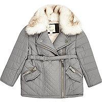 Mini girls grey faux fur padded jacket
