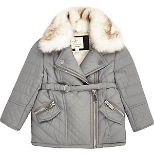 Mini girls grey faux fur quilted jacket