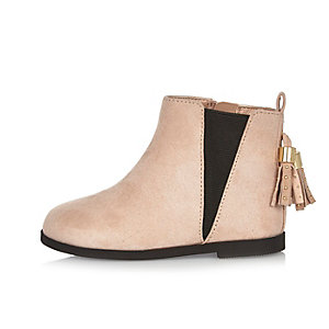 Mini girls pink tassel Chelsea boots