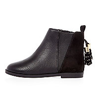 Mini girls black tassel Chelsea boots