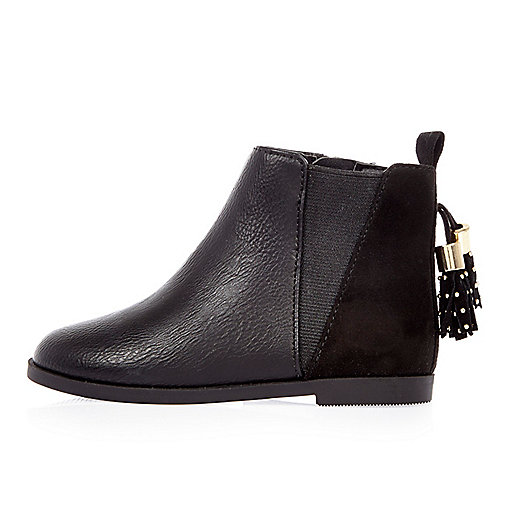 Mini girls black tassel Chelsea boots