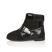 Mini girls black patchwork ankle boots