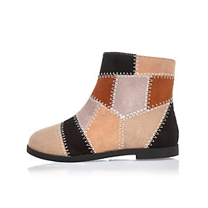 Mini girls patchwork ankle boots