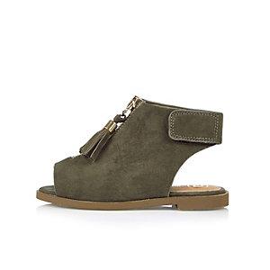 Mini girls khaki zip sandals