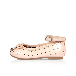 Mini girls pink studded ballerina shoes