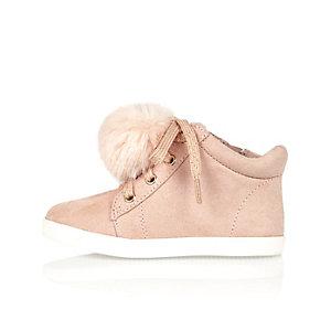 Mini girls pink pom pom hi tops