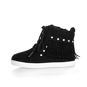 Mini girls black fringe hi tops