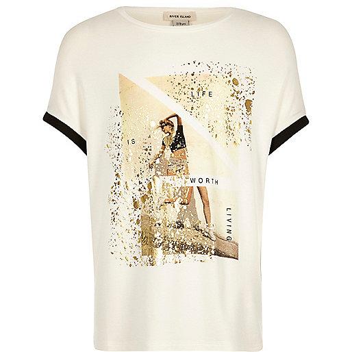 Girls cream print t-shirt
