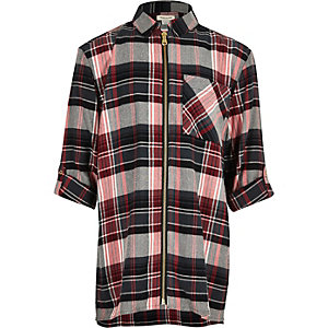 Girls red check longline zip shirt