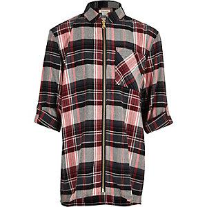 Chemise longue à carreaux rouge zippée pour fille