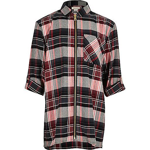 Girls red checked longline zip shirt