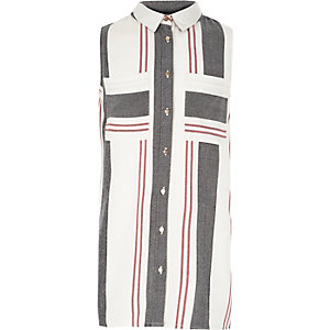 Girls red stripe sleeveless shirt