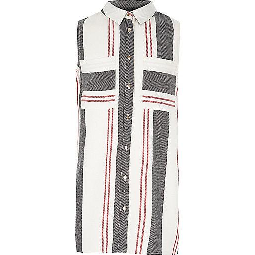 Girls red stripe sleeveless shirt