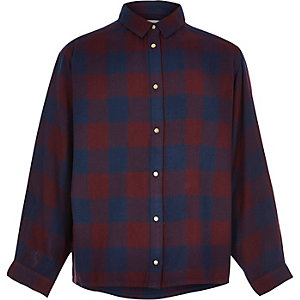 Girls navy checked oversized shirt