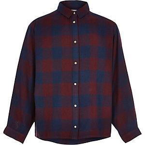 Chemise oversize à carreaux bleu marine pour fille