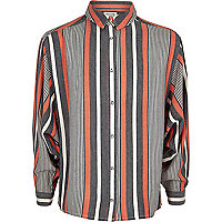 Girls coral stripe oversized shirt