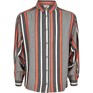 Girls coral stripe oversized shirt