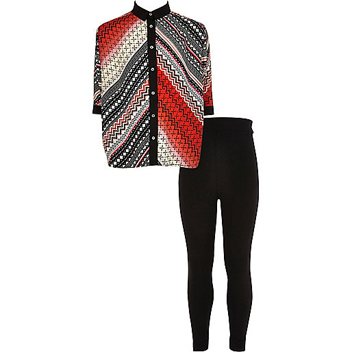 Girls red Aztec shirt and leggings outfit