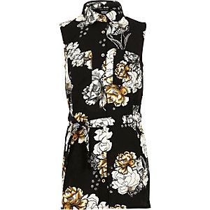 Girls black floral print longline shirt