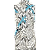 Girls blue Aztec print longline shirt